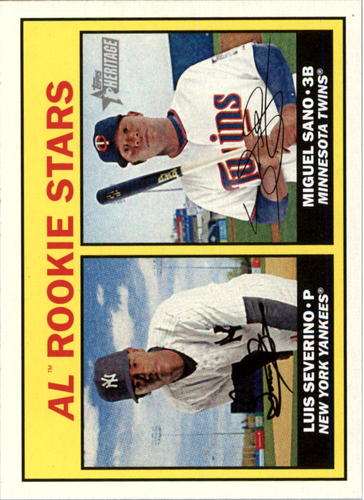 Photo of 2016 Topps Heritage #190A Luis Severino RC/Miguel Sano Rookie Cards