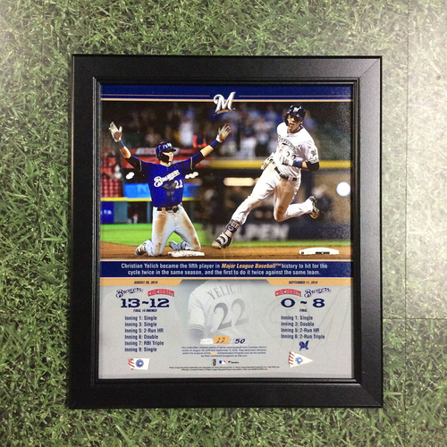 "Photo of Christian Yelich 2018 Commemorative ""Hit for Cycles"" Framed Piece with Game-Used Baseball Swatches - Limited Edition #22 / 50"