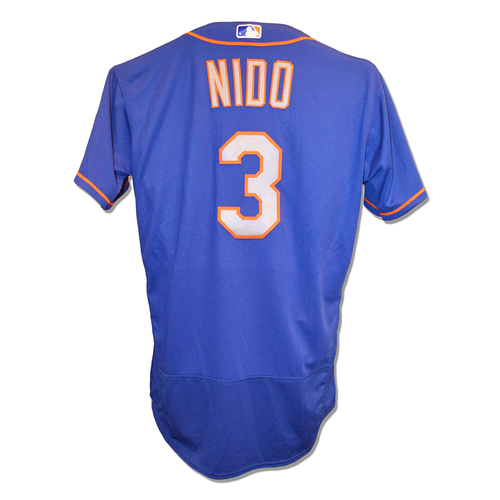 Tomas Nido #3 - Game Used Blue Alt. Road Jersey - Mets vs. Nationals - 9/22/18