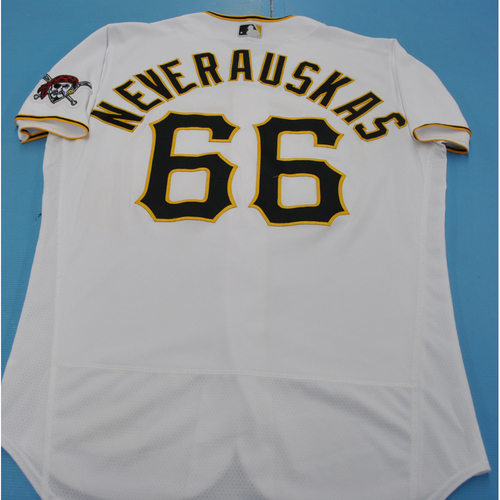 Photo of Game-Used Jersey - MIL at PIT - 7/27/2020 - Dovydas Neverauskas Home Jersey