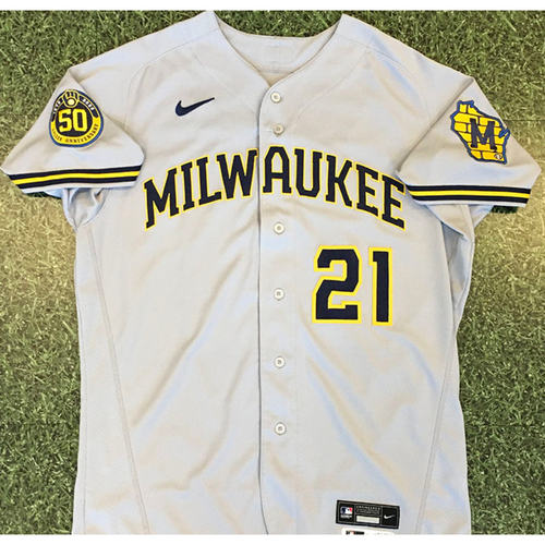 Photo of Logan Morrison 2020 Team-Issued Road Grey Jersey