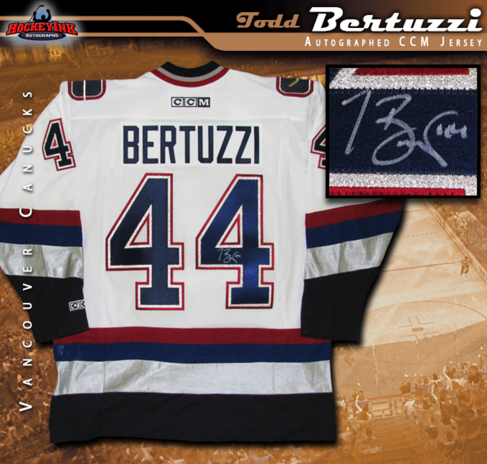 TODD BERTUZZI Signed Vancouver Canucks White CCM Jersey - NHL Auctions