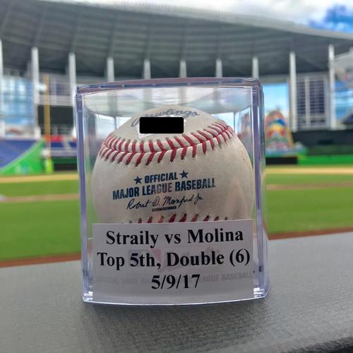 Game-Used Baseball: Yadier Molina Double