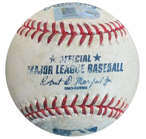 Photo of Game-Used Baseball from Pirates vs. Brewers on 9/13/15 - Andrew McCutchen Single