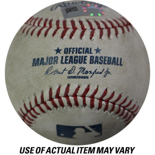Photo of Rays at Yankees 8-14-2018 Game Used Baseball (Bottom 4 - Miguel Andujar - Foul)