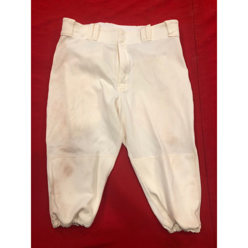 Photo of Yasiel Puig -- Game-Used Pants -- 1902 (Starting RF: Went 3-for-4, HR, 2 RBI, R) & 1912 Throwback Games (Starting RF) -- Size: 37-42-18