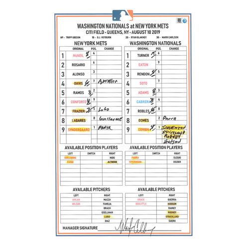 Game Used Lineup Card - Syndergaard 7 IP, 5 K's; J.D. Davis HR (14); Luis Guillorme Hits First Career Home Run; Mets Win 4-3 - Mets vs. Nationals - 8/10/2019