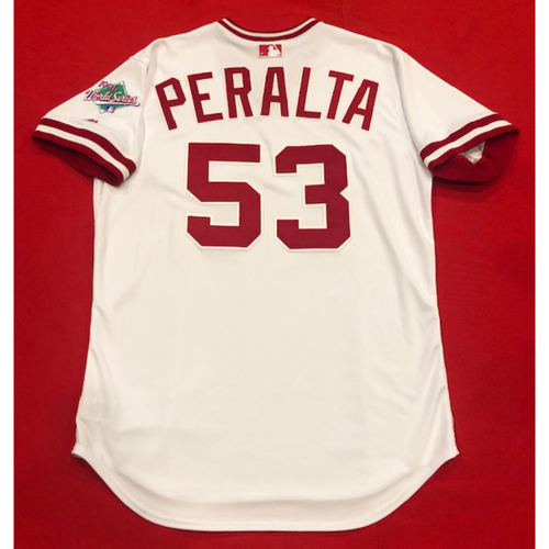 Photo of Wandy Peralta -- Team Issued 1990 Throwback Jersey -- Cardinals vs. Reds on Aug. 18, 2019 -- Jersey Size 46