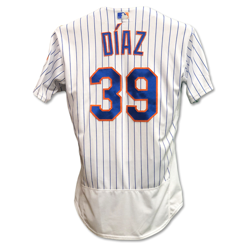 Photo of Edwin Diaz #39 - Game Used White Pinstripe Jersey - 1 IP, 0 ER, 2 K's, Earns 14th Save of 2019 - Mets vs. Rockies - 6/8/19