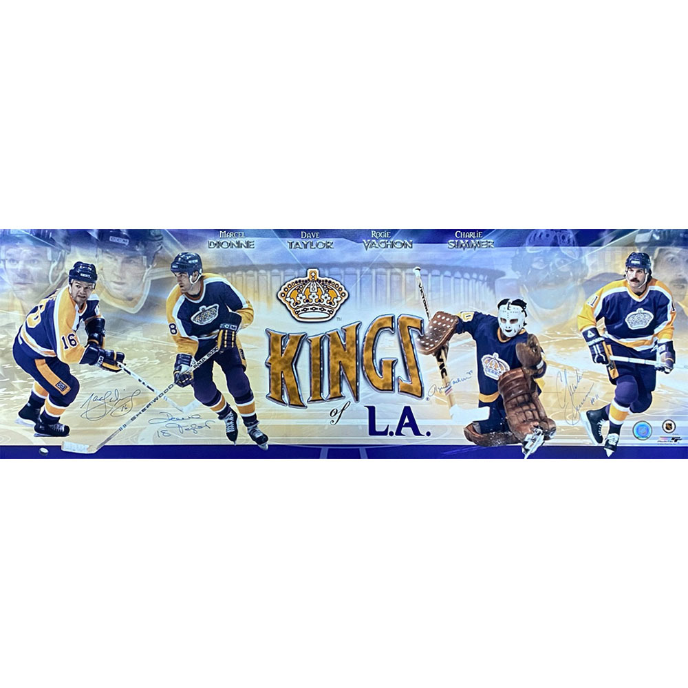 Los Angeles Kings Legends Multi-Signed 12X36 Panoramic Photo - Dionne, Taylor, Simmer & Vachon
