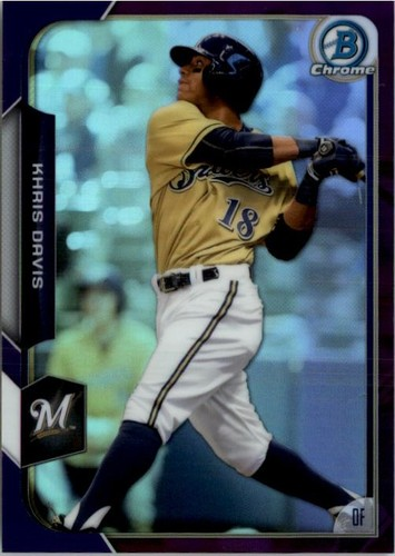 Photo of 2015 Bowman Chrome Purple Refractors #9 Khris Davis