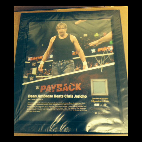 Dean Ambrose SIGNED Payback 2016 15 x 17 Framed Ring Canvas Photo Collage
