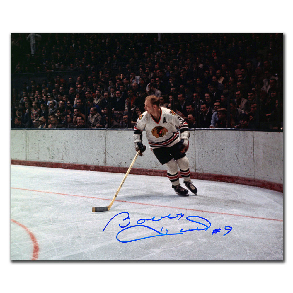 Bobby Hull Chicago Blackhawks VINTAGE RUSH Autographed 16X20