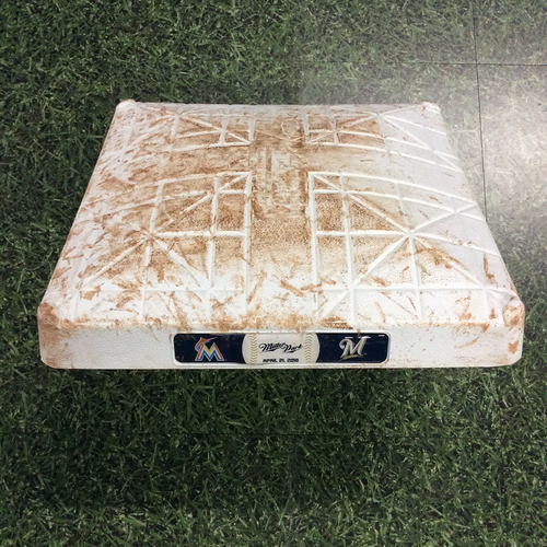 Photo of Game-Used 04/21/18 3rd Base - MIA@MIL - Jesus Aguilar Walk-Off HR