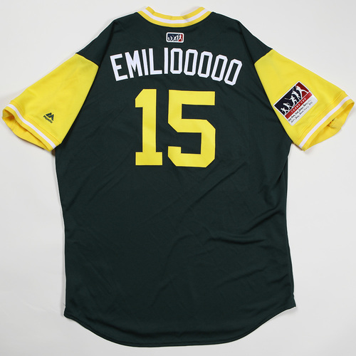 "Photo of Emilio ""Emili00000"" Pagan Oakland Athletics Team Issued Jersey 2018 Players' Weekend Jersey"