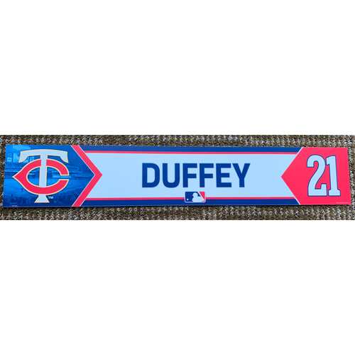 Photo of 2018 Game-Used Tyler Duffey Minnesota Twins Lockertag