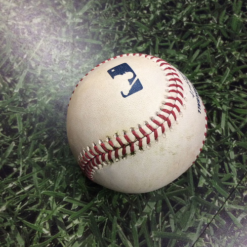 Photo of Game-Used Baseball CHC@MIL 09/04/18 - James Norwood - Christian Yelich: 2-Run Double
