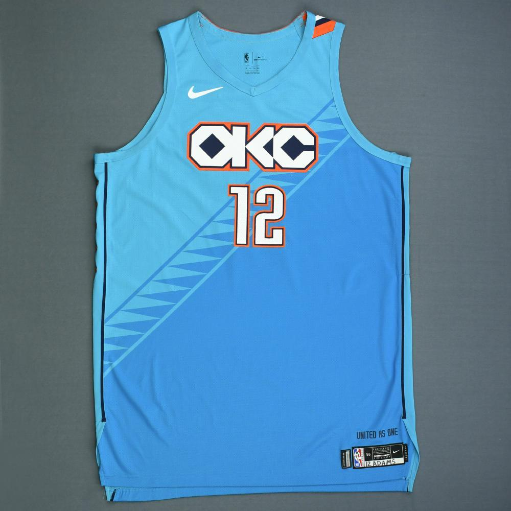 best website 23c2c b6a3c Steven Adams - Oklahoma City Thunder - Game-Worn 1st Half ...