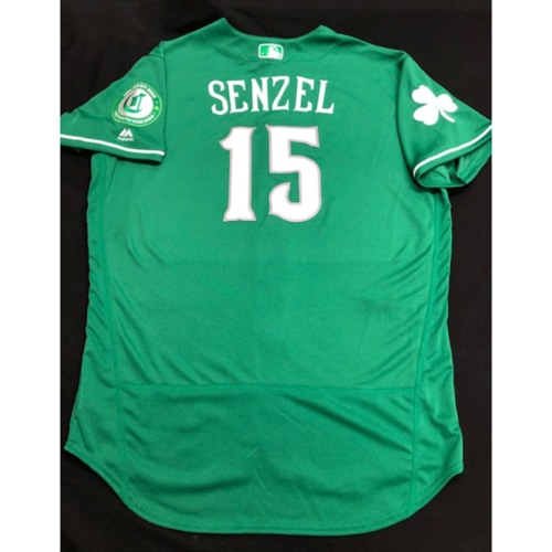 Photo of Nick Senzel -- Game-Used Jersey -- 2019 St. Patrick's Day