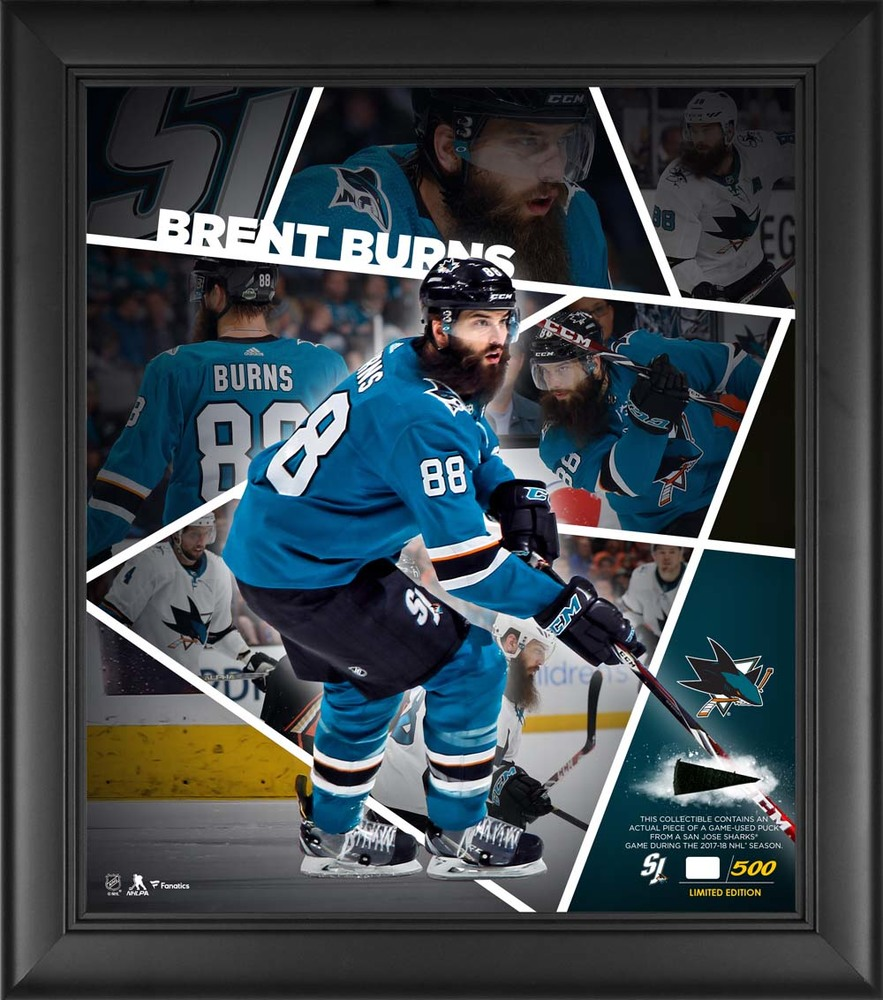 Brent Burns San Jose Sharks Framed 15'' x 17'' Impact Player Collage with a Piece of Game-Used Puck - Limited Edition 88 of 500
