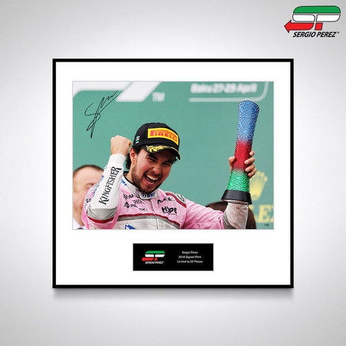 Photo of Sergio Perez 2018 Signed Photo - 'Podium': Official Sergio Pérez Collection