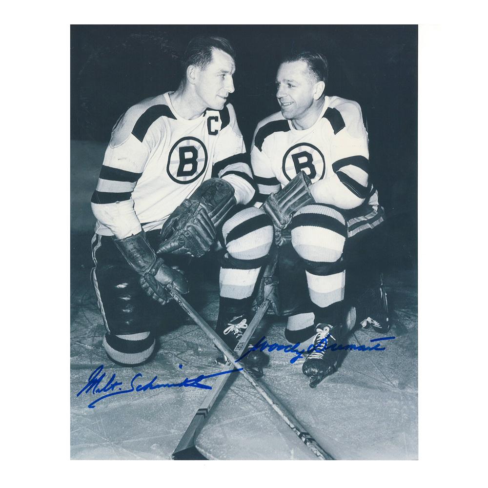 MILT SCHMIDT & WOODY DUMART Signed Boston Bruins 8 X 10 Photo - 70126
