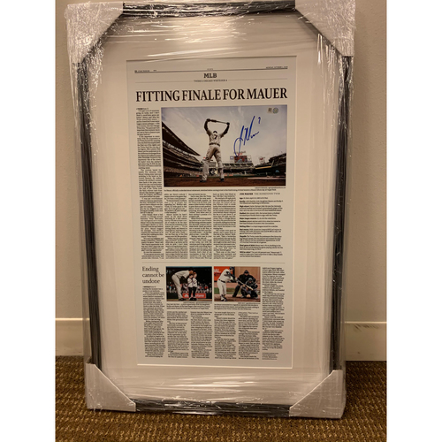 "Photo of ""Fitting Finale for Mauer"" Autographed Star Tribune Print"