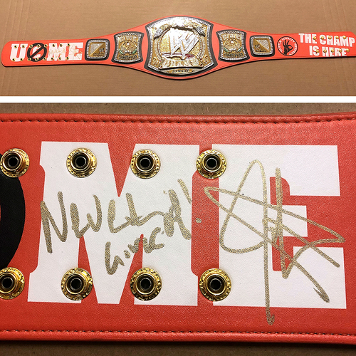 Photo of John Cena SIGNED Signature Series Spinner Championship Replica Title (Never Give Up!)