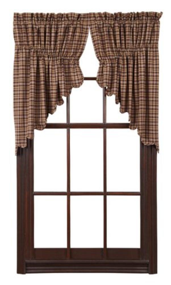 Photo of VHC Brands Prescott Prairie Swag Scalloped Set of 2 36x36x18 Country Curtains, Dark Brown
