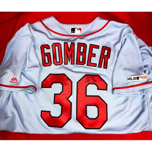 Photo of Austin Gomber Autographed Team-Issued Road Alternate Jersey (Size 48)