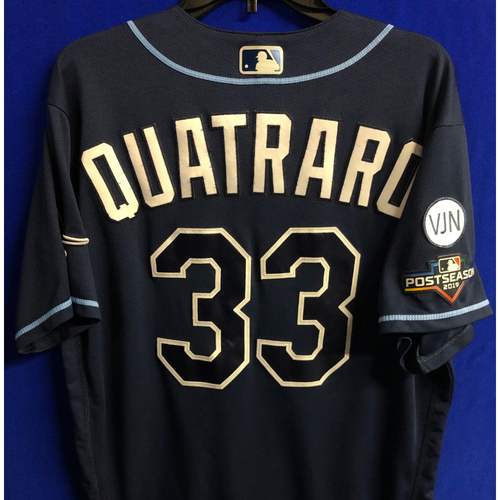 Photo of Game Used Wild Card and ALDS Navy Jersey: Matt Quatraro - 2 Games - October 2019 at OAK and HOU