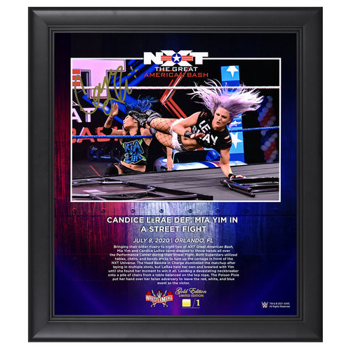 Photo of Candice LeRae SIGNED Great American Bash 2020 WrestleMania Gold Edition Plaque (#1 of 1)