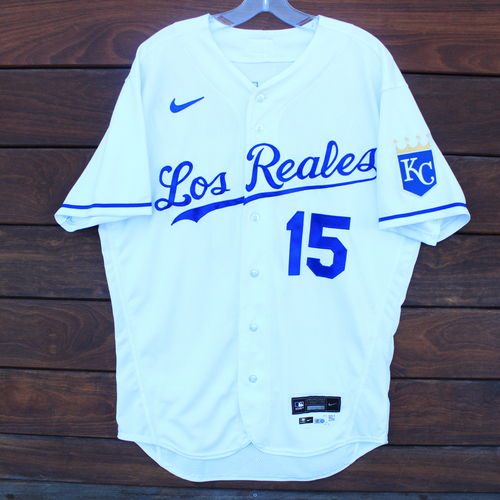 Photo of Game-Used Los Reales Jersey: Whit Merrifield #15 - 2 for 5 (Single, Double) (SEA@KC 9/17/21) - Size 44
