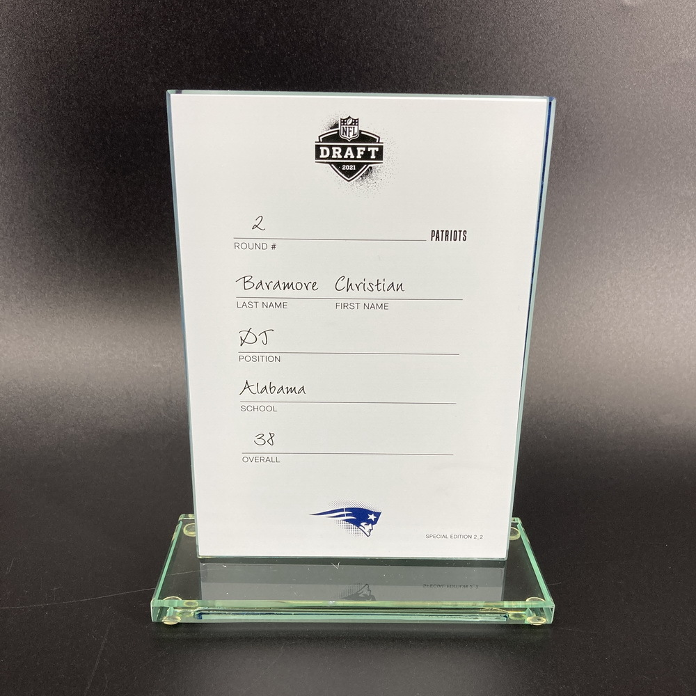 NFL - Patriots Christian Baramore 2021 NFL Draft Card Special Edition 2 of 2