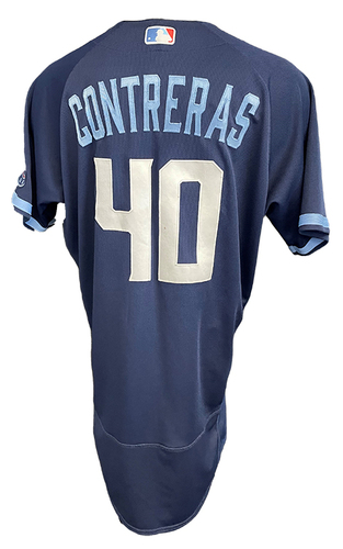 Photo of Willson Contreras Game-Used Jersey - City Connect - Cardinals vs. Cubs Game 1 of DH - 9/24/21 - Size 46TC + 2B