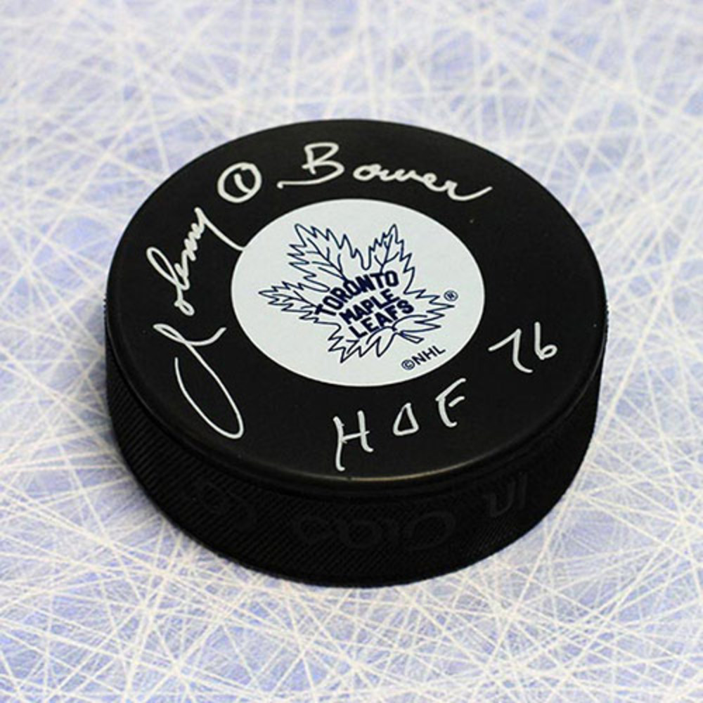 Johnny Bower Toronto Maple Leafs Autographed Hockey Puck w/ HOF Note