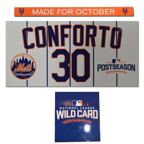Photo of Michael Conforto #30 - Game Used Locker Nameplate - 2016 Wild Card Game - Mets vs. Giants - 10/5/16