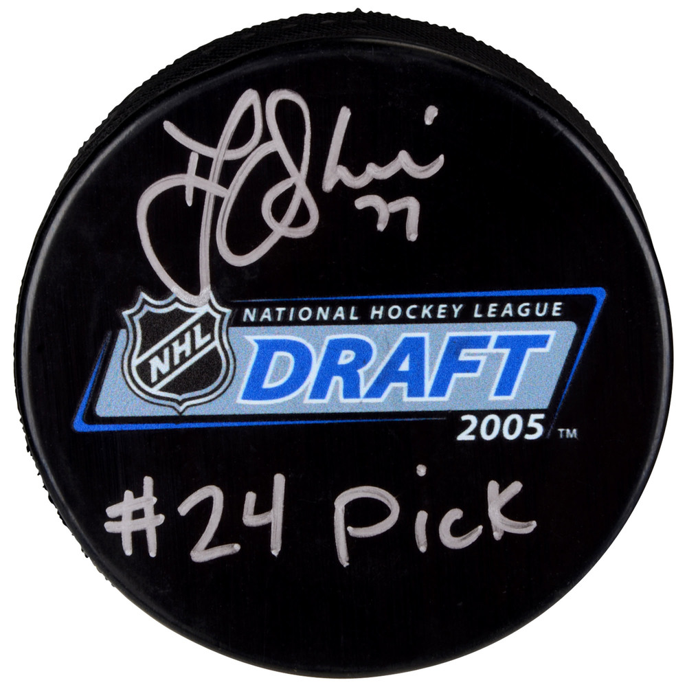 T.J. Oshie Washington Capitals Autographed 2005 NHL Draft Logo Hockey Puck with #24 Pick Inscription