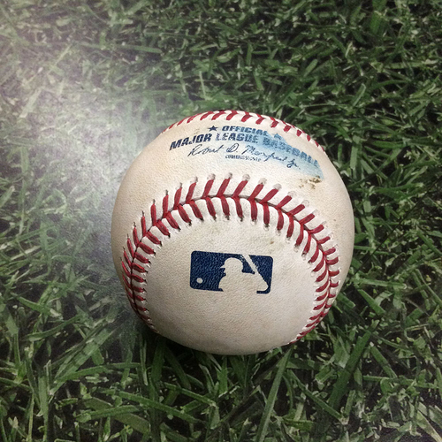 Photo of Game-Used Baseball CHC@MIL 06/13/18 - Mike Montgomery - Christian Yelich: Foul Ball