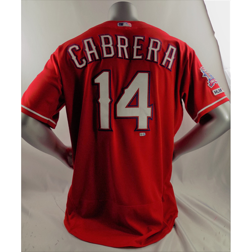 Photo of Game-Used Home Run Red Jersey - Asdrubal Cabrera - 3/30/19, 5/5/19