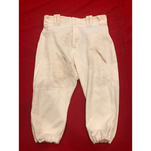 Photo of Tucker Barnhart -- Game-Used Pants -- 1902 (Starting C: Went 1-for-4, HR, 2 RBI, 2 R) & 1912 Throwback Games  (Defensive Substitution: Went 1-for-2) -- Size: 34-39-20