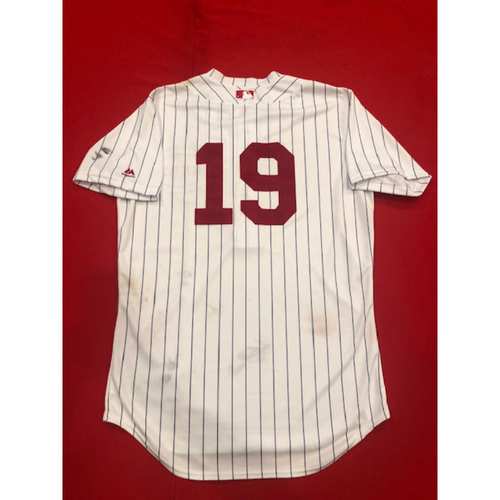 Photo of Joey Votto -- Game-Used Jersey -- 1919 Throwback Game -- Nationals vs. Reds on June 2, 2019 -- Jersey Size 44