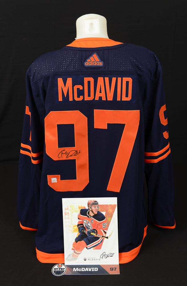 Connor McDavid #97 - Ultimate Fan Autographed Memorabilia Collection Including Pro Jersey, Player Card & Locker Room Nameplate!