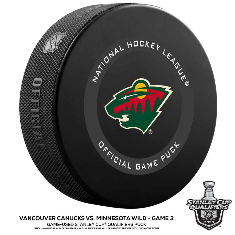 Vancouver Canucks vs. Minnesota Wild Game-Used Puck from Game 3 of the 2020 Qualifying Series on August 6, 2020