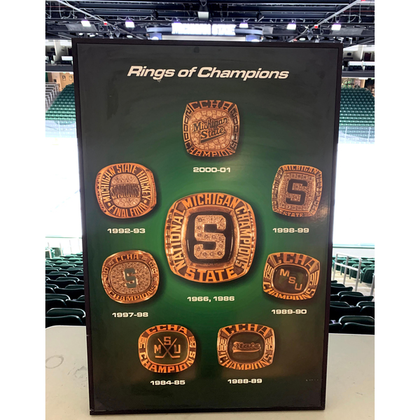 Photo of Michigan State Hockey Rings of Champions Framed Poster
