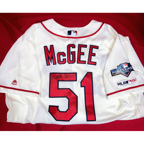 Photo of Willie McGee Autographed Game-Used Home Alternate Jersey w/ 2019 Postseason Patch (4/20/19, NYM @ STL) (10/12/19, NLCS Game 2, WSH @ STL) (Size 46)