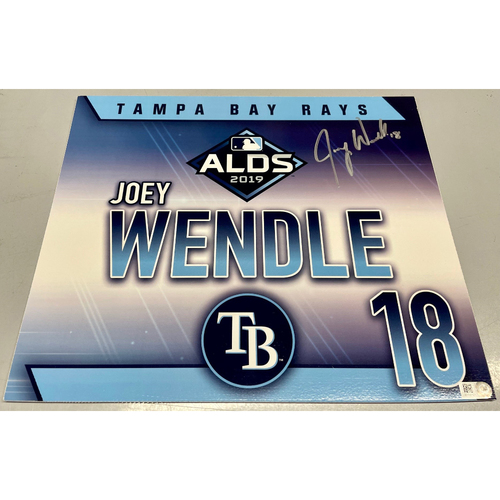 Photo of Game Used Autographed ALDS Locker Tag: Joey Wendle - October 7, 2019 v HOU