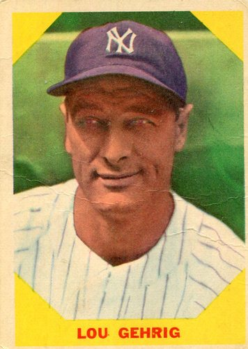 Photo of 1960 Fleer #28 Lou Gehrig -- Hall of Fame Class of 1939