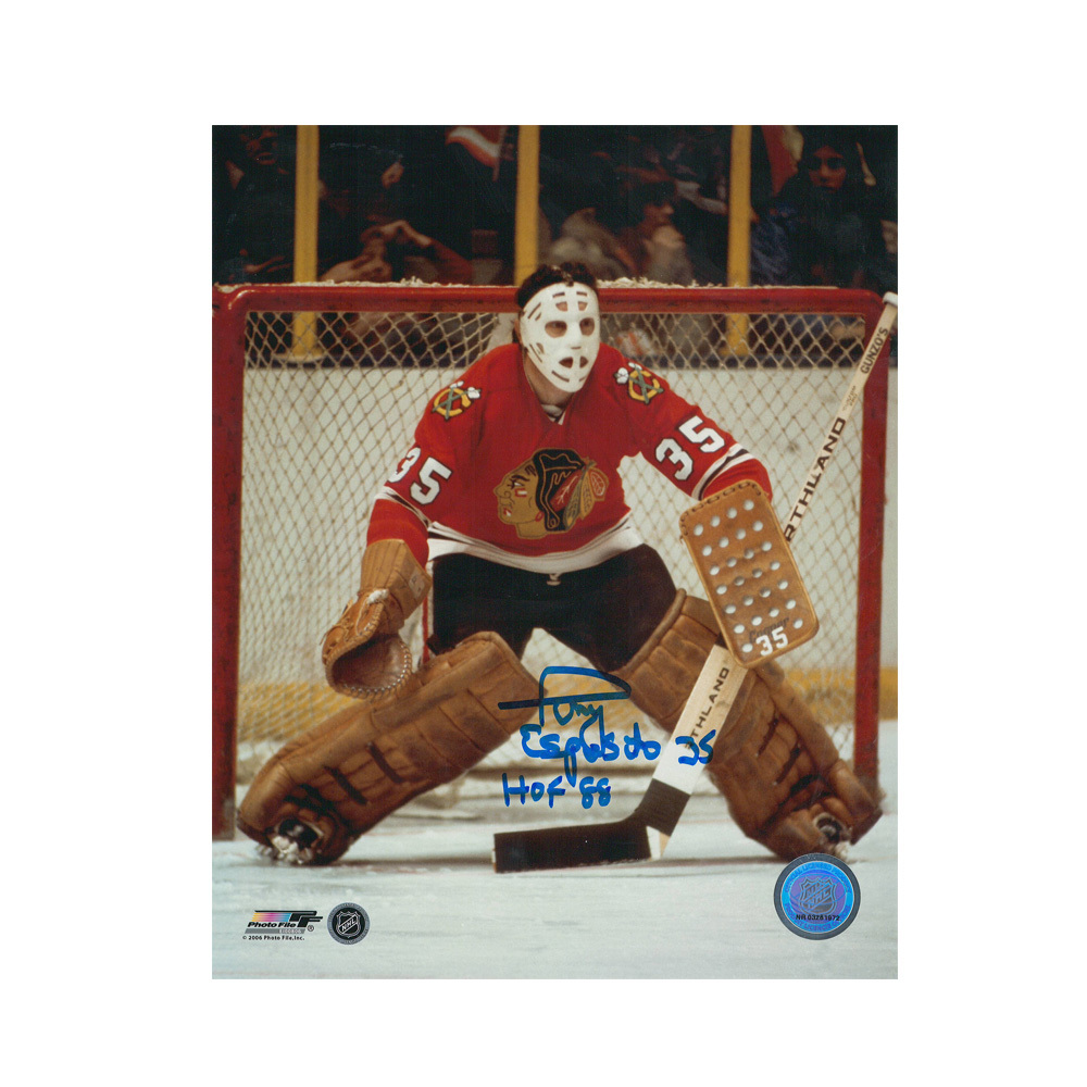 TONY ESPOSITO Signed Chicago Blackhawks W/ HOF Inscription 8 X 10 Photo - 70396A