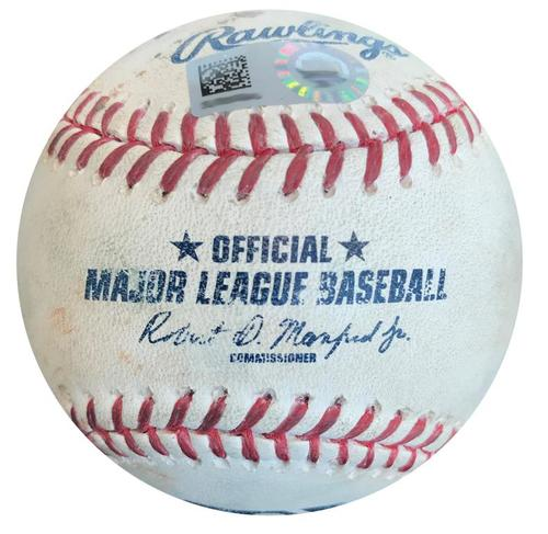 Photo of Game-Used Baseball from Pirates vs. Brewers on 4/15/16 - Chris Carter Single